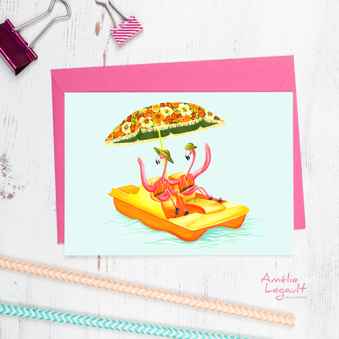 Pink flamingo on a pedal boat, card, birthday card
