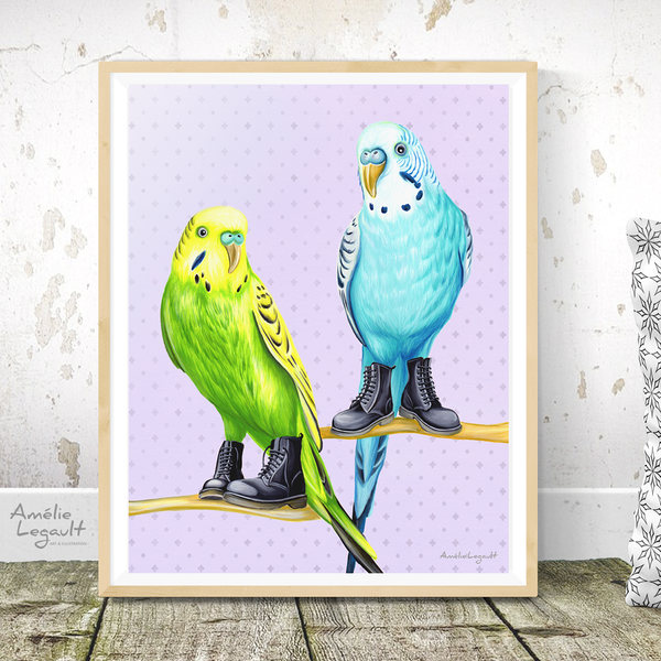 Parakeets wearing Doc Martens boots, art Print, gouache painting, home decor, amélie legalt, parakeet painting, parakeet print, parakeet illustration, canadian art, canadian artist, made in canada