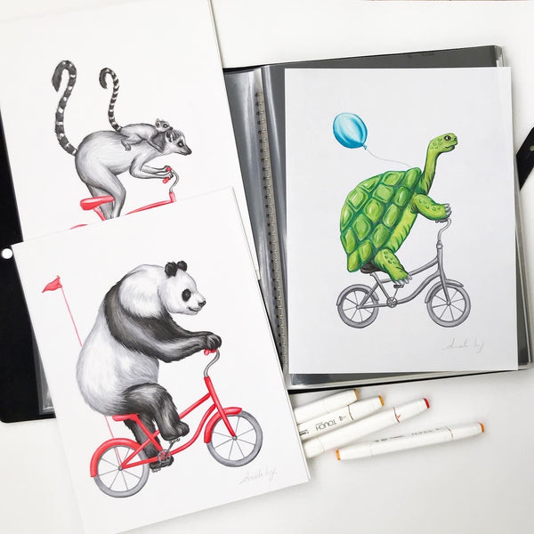 animals on bikes, amelie legault, ink drawing, original artwork