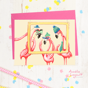 Pink flamingos photobooth party, Birthday card