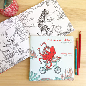 Coloring book, Animals on bikes, from the jungle to the sea, sea animal, octopus illustration, jungle animals, amelie legault, coloring for kids, canadian artist, made in canada, easter gift