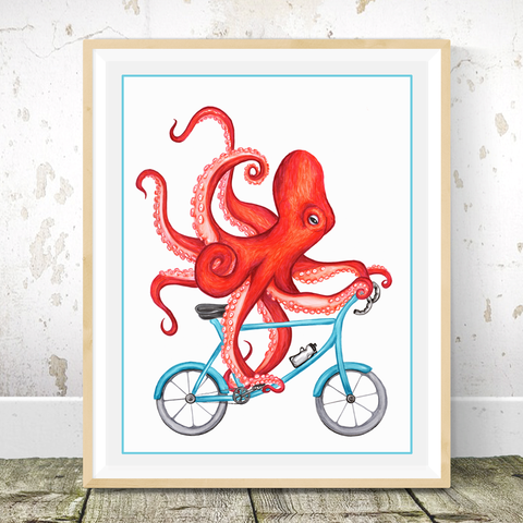 Octopus on bike, Print, Drawing, Wall art
