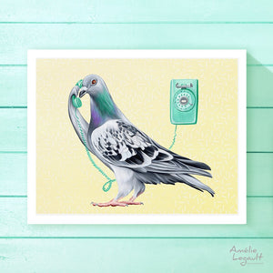 pigeon illustration, homing pigeon, pigeon art work, pigeon art print, amelie legault, phone illustration, vintage phone, wall phone, canadian art, canadian artist, made in canada