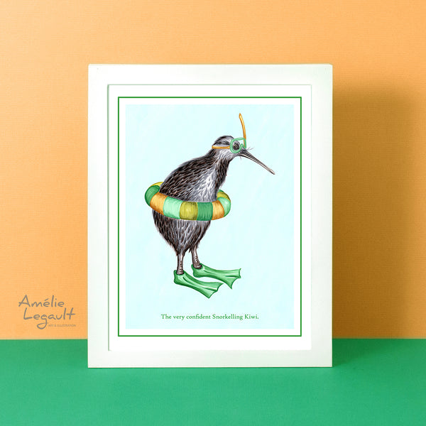 Snorkeling, diving, kiwi bird, art print, home decor,kiwi drawing, new-zealand, amelie legault