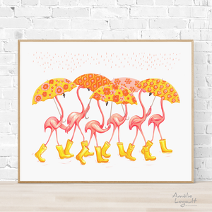 Pink Flamingo with umbrellas and rain boots, Print, home decor