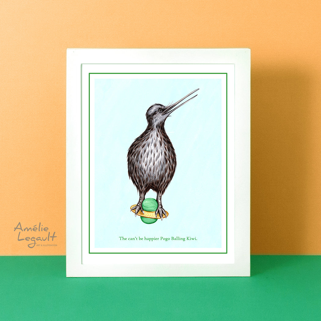 Kiwi bird, kiwi illustration, kiwi art, pogo ball, art print, home decor, amelie legault, new zealand