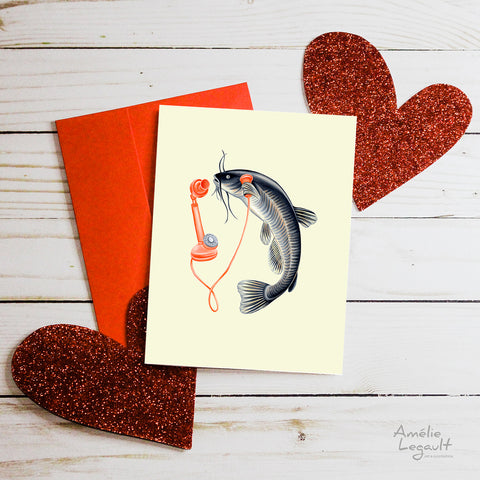 Valentine's day card, hello i love you, carte st-valentin, allo je t'aime, amélie legault, poisson, fish, téléphone, phone