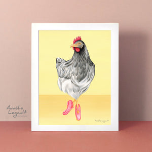 Ballerina illustration, ballerina print, ballet illustration, chicken illustration, Hen doing ballet, art Print, Gouache, gouache Painting, amelie legault, made in canada, canadian artist
