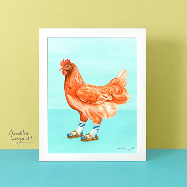Hen illustration, hen painting, chicken illustration, chicken art print, Chickens wearing sandals with socks, art Print, Home decor, amelie legault, canadian artist, canadian art, made in canada