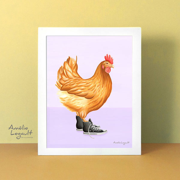 Chicken wearing converse shoes, art Print, gouache painting, home decor, amelie legault, hen illustatration, converse shoes illustration, converse shoes print, converse shoes painting, chicken illustration, canadian artist, made in canada