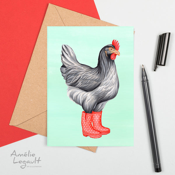 Hen, chicken, rainboots, greeting card, birthday card, amelie legault