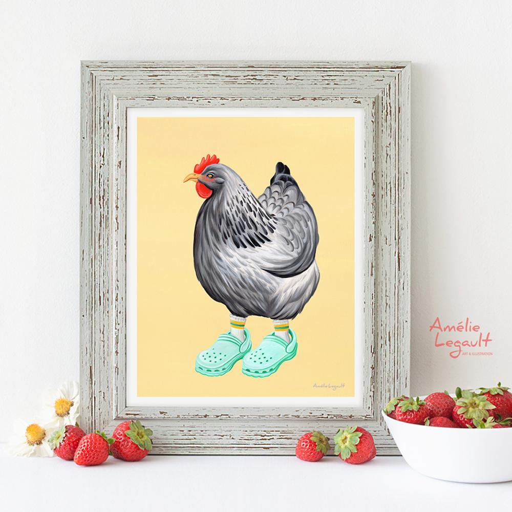 Chicken wearing Crocs shoes print