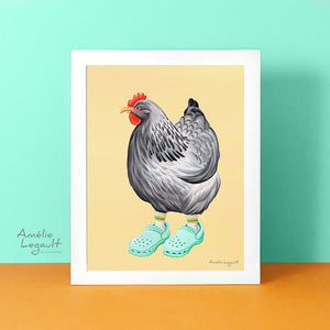 Hen illustration, chicken illustration, crocs shoes, crocs shoes illustration, hen painting, gouache painting, amelie legault, art print, artwork, canadian artist, kitchen decor