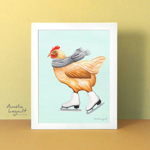 Ice skating illustration, ice skate art, art print, artwork, canadian artist, hen, chicken, amelie legault