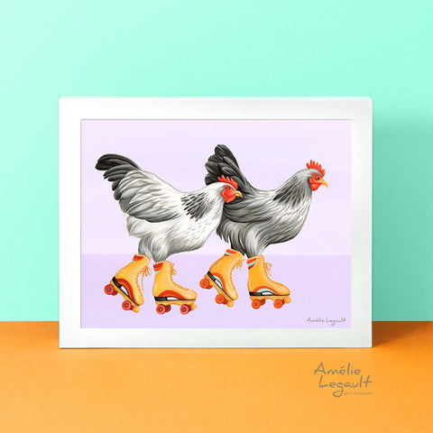 Roller skating Hens, Chickens art print, Home Decor, hen illustration, chicken illustration, roller skate illustration, roller skate painting, gouache painting, amelie legault, canadian artist, canadian art, made in canada