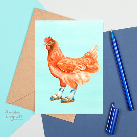 Hen wearing sandals with socks, card