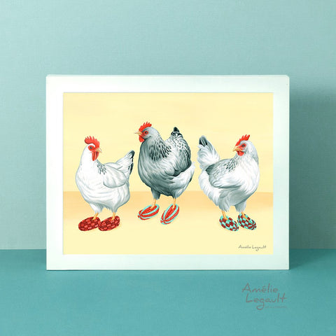 Hens illustration, Chickens wearing slippers, art Print, gouache Painting, Home Decor, kitchen decor, chicken illustration, artwork, amelie legault, canadian artist, canadian art