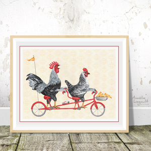 Chickens on tandem bicycle, print, kitchen decor
