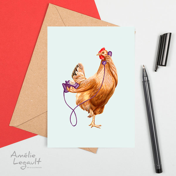 hen on the phone, hen illustration, greeting card, birthday card, hen card, chicken card, chicken on the phone, amelie legault, made in canada, canadian artist