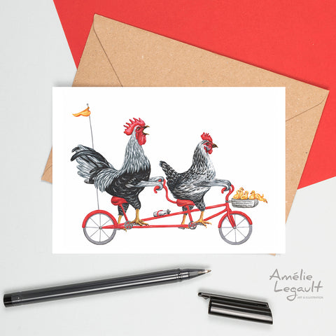 Chicken on a tandem bike, chicken family, amélie legault, chicken card, greeting card, easter card, birth card, father's day card, Mother's day card