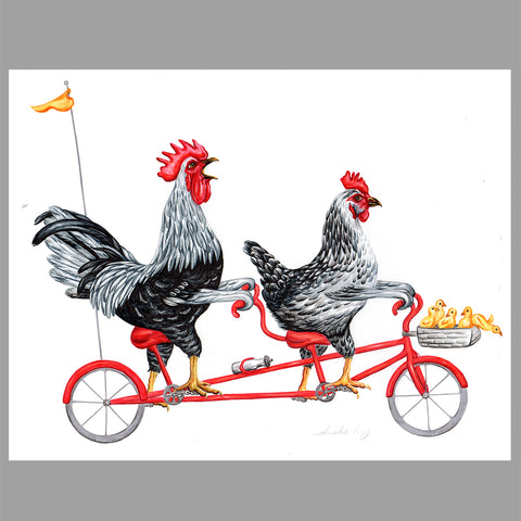 Chicken family, bike, illustration, Original artwork, Amelie Legault