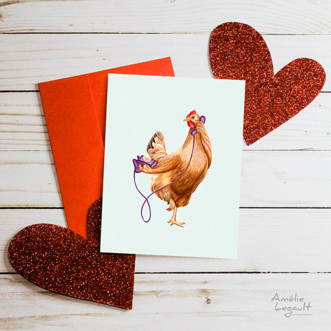 Valentine's day card, hello i love you, carte st-valentin, allo je t'aime, amélie legault, poule, chicken, hen, téléphone, phone
