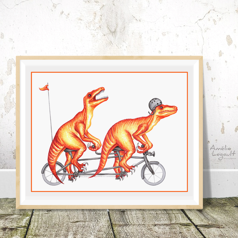 Raptors on tandem bike, print, drawing