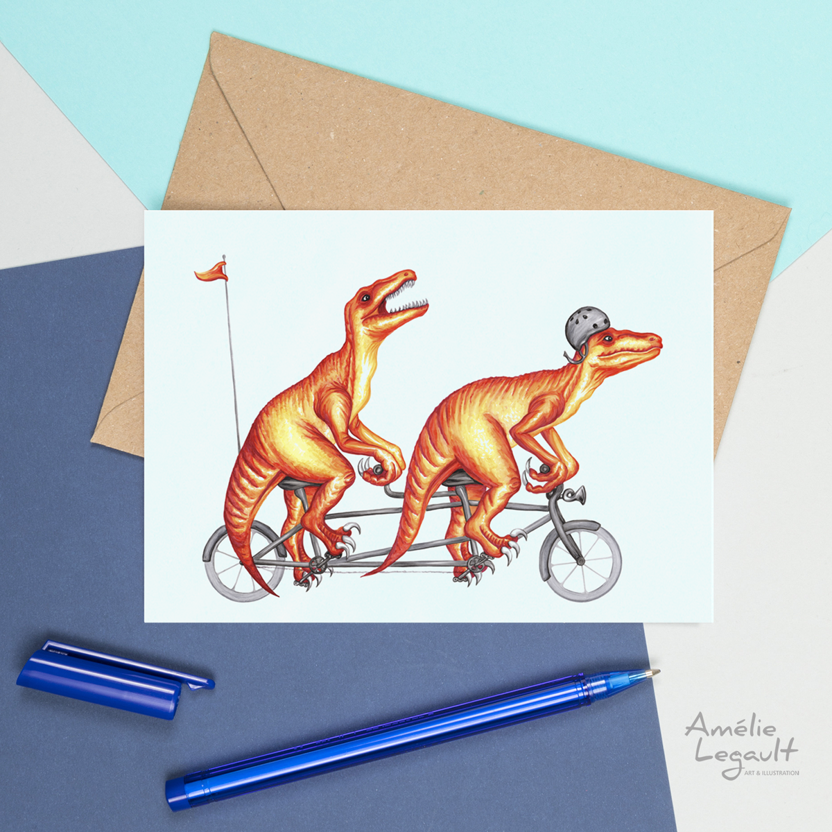 Raptors, dinosaurs, tandem bike, bicycle card, dinosaur card, amelie legault, greeting card, birthday card