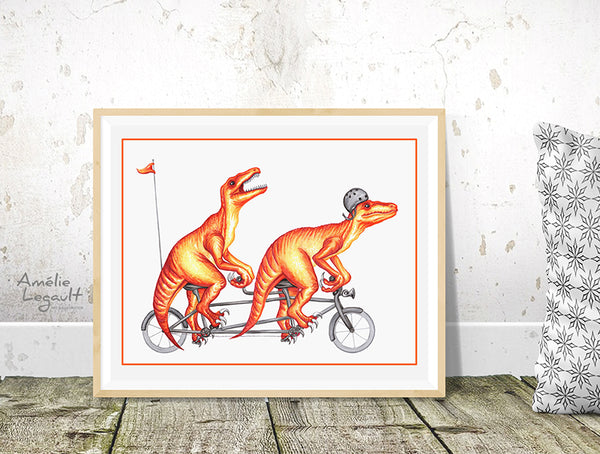 Raptor art print, dinosair illustration, tandem bike, bicycle art, home decor, art print, amelie legault