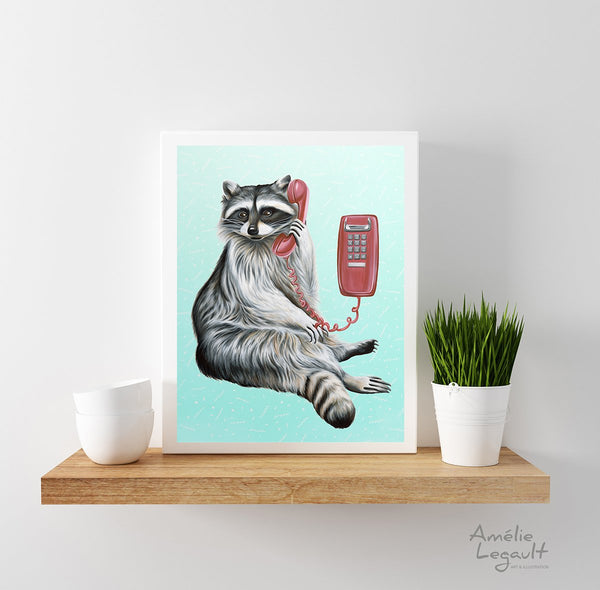 Raccoon illustration, raccoon art, raccoon painting, amelie legault, canadian animal, montreal animal, wall phone, 1980s phone, phone art