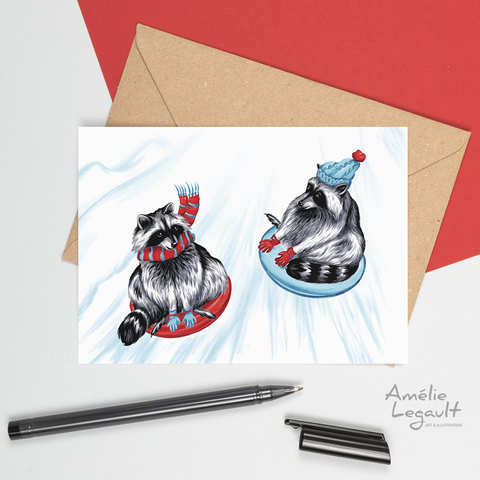 holiday card, christmas card, raccoon, slide, sliding, winter joy, amelie legault, canadian animal, canadian artist
