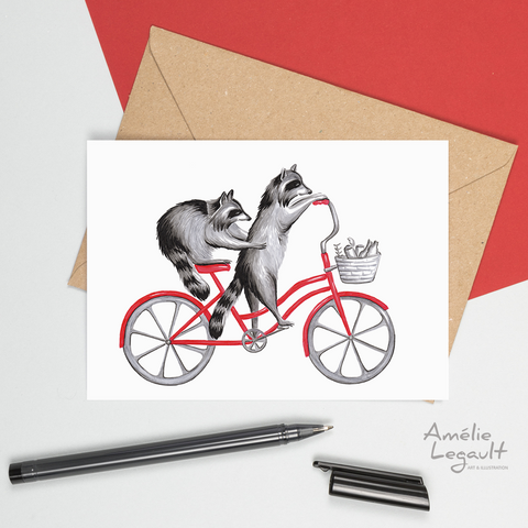 Raccoons on bikes, bike riding raccoons, card