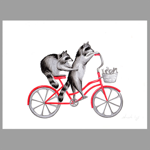 Raccoons on a bike - Original Work - Amelie Legault