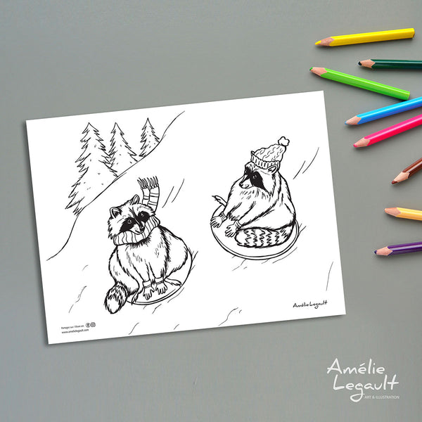 coloriage gratuit, coloriage d'hiver, coloriage de noël, amelie legault, ratons laveurs, ratons qui glissent, illustration de raton, fait au québec, raccoon illustration, sliding raccoons, made in canada, raccoon coloring, winter coloring, holiday coloring, holiday activity, christmas coloring