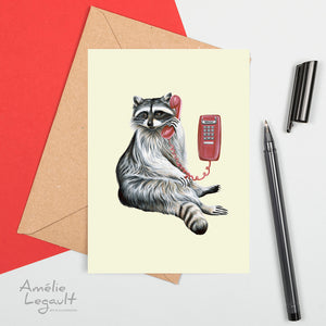 raccoon on the phone, greeting card, raccoon card, birthday card, amelie legault, made in canada, wall phone, canadian artist