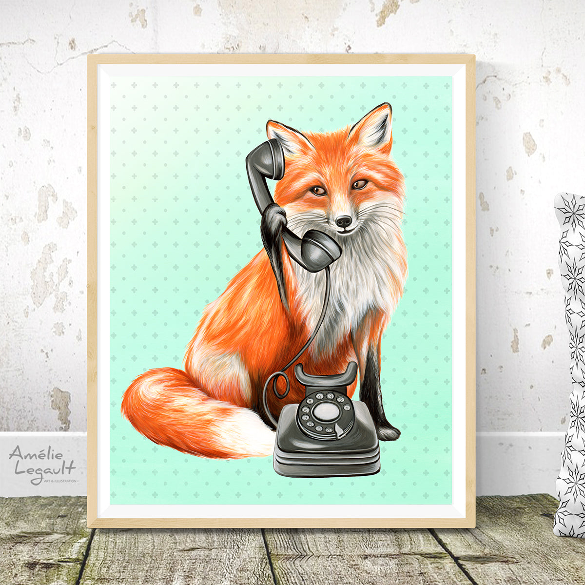 Fox on the phone - art print