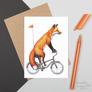 greeting card, fox illustration, fox riding a bike, amelie legault, canadian animal, canadian artist