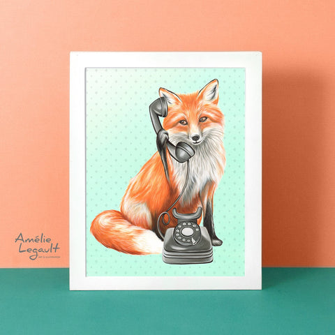 Fox on the phone, art print, amélie legault, fox illustration, fox art, fox painting, gouache painting, phone painting, phone art, retro phone, rotary phone
