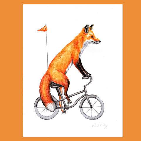 Fox on a bike - Amelie Legault - Original Artwork, fox illustration
