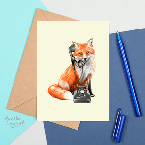 fox on the phone, fox card, greeting card, amelie legault, birthday card, vintage phone, rotary phone, made in canada, canadian artist