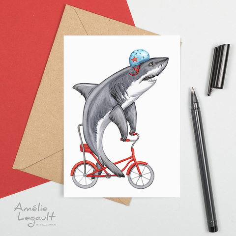 Shark on bike, card, birthday card