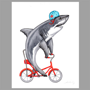 Shark illustration, original artwork, bike, amelie legault