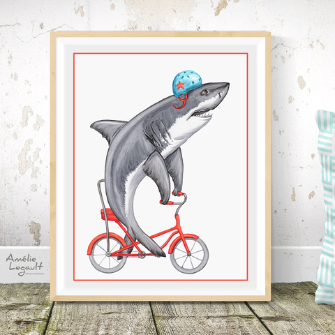Shark on bike, Print, Drawing, Home decor