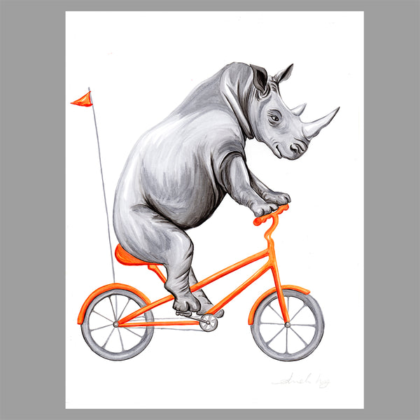 Rhino on a bike, Amelie Legault, Original Artwork