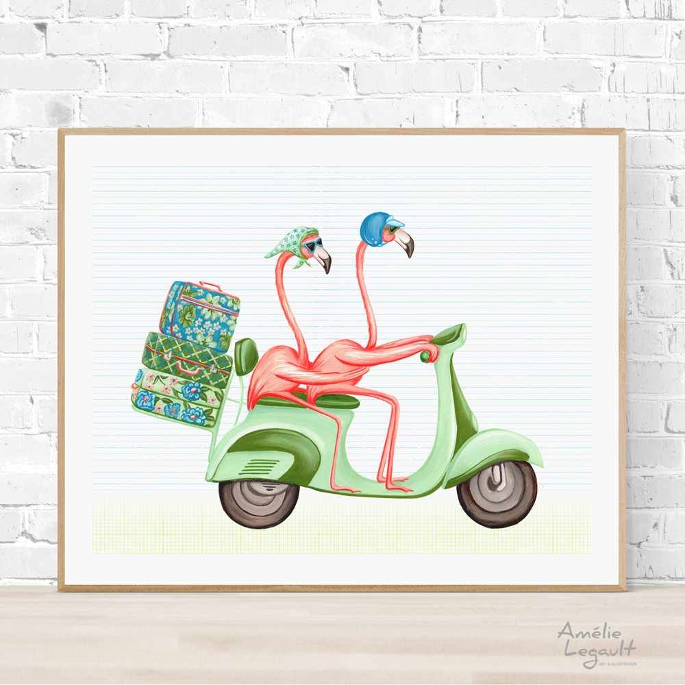 Pink flamingos on scooter, Print, Painting, Home decor