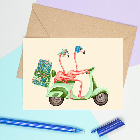 flamingo card, birthday card, wedding card, i love you card, travel card, amelie legault, flamingo party, flamingo love, happy birthday, vespa card,