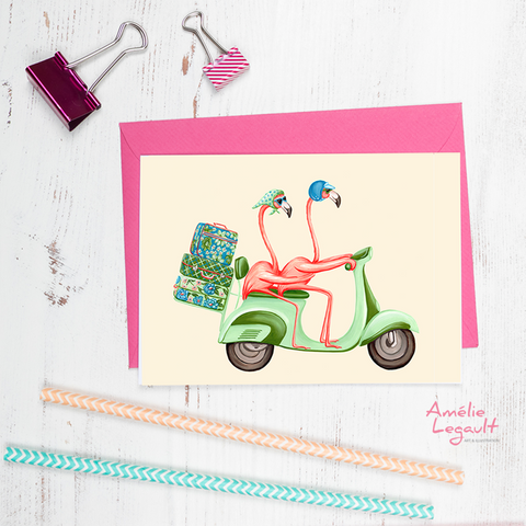 Pink flamingos, scooter, vespa, greeting card, valentine's day card, birthday card, wedding card, amelie legault