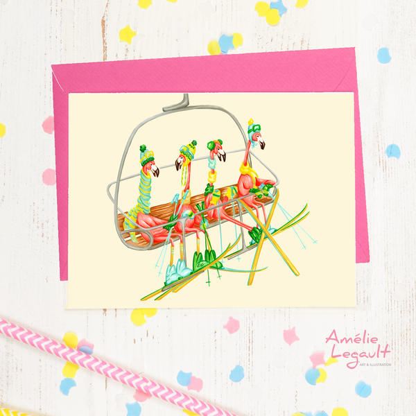 Pink flamingo skiing card, winter card, holiday card