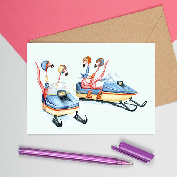 flamingo card, flamingo party, flamingo love, snowmobile, amelie legault, winter card, christmas card, holiday card