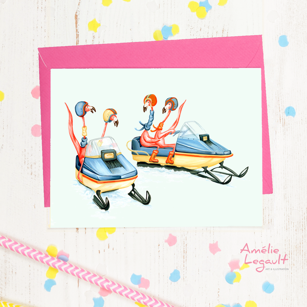 Pink flamingo on snowmobile, holiday card, winter card